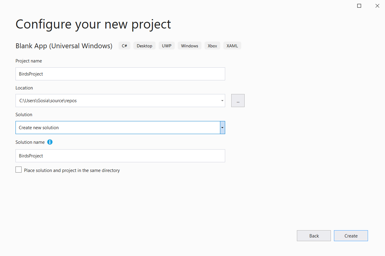 VisualStuio Create Blank App