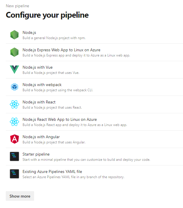 Azure Configure Pipeline Node