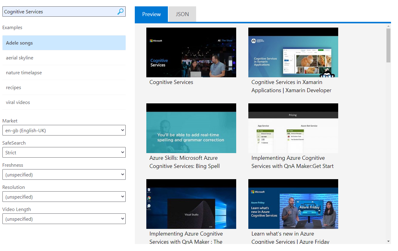 Cognitive Services: Bing Video Search