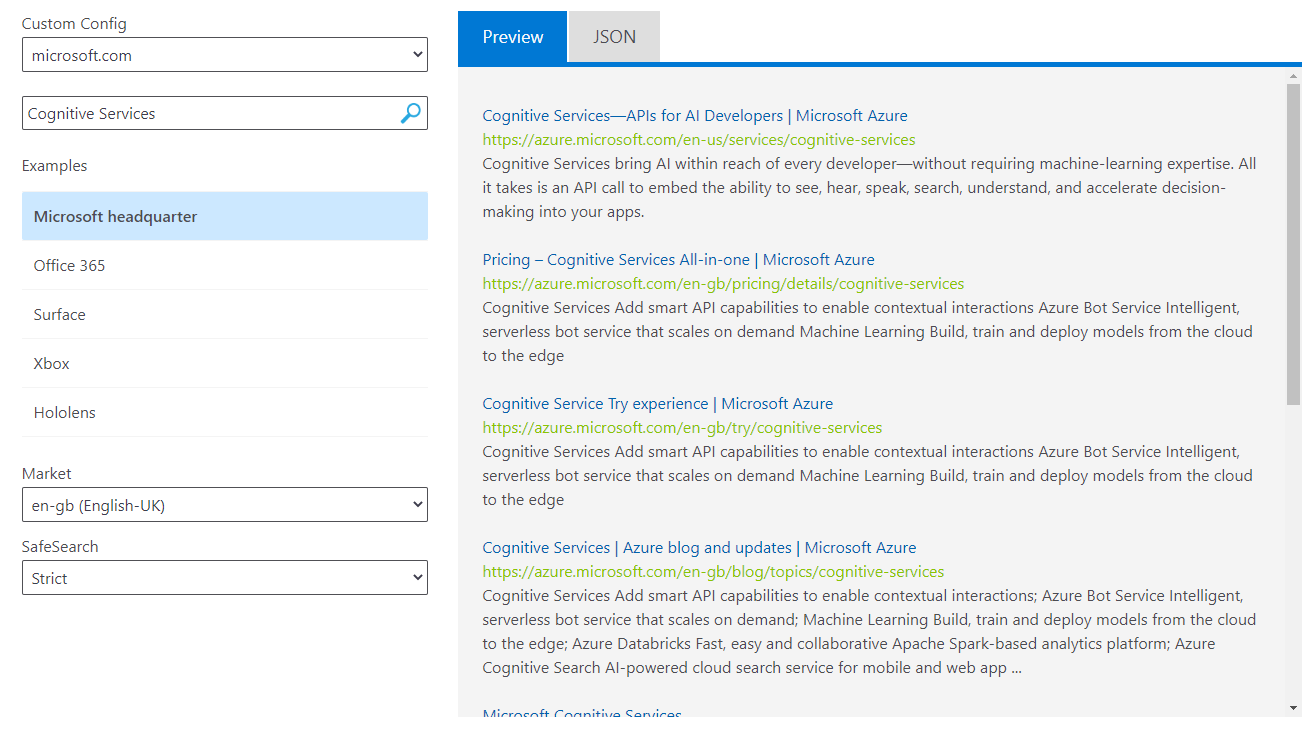 Cognitive Services: Bing Custom Search