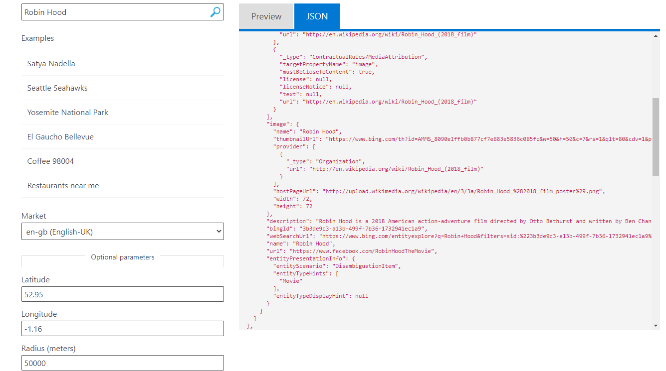 Cognitive Services: Bing Entity Search