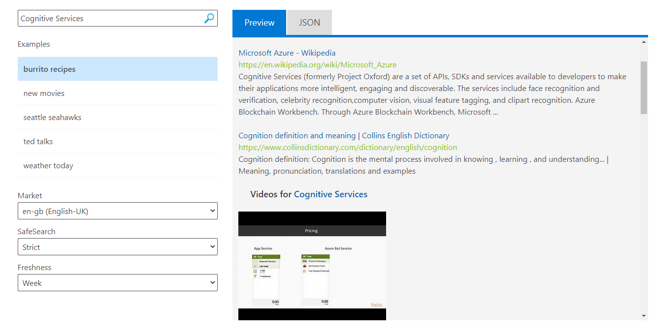 Cognitive Services: Bing Web Search